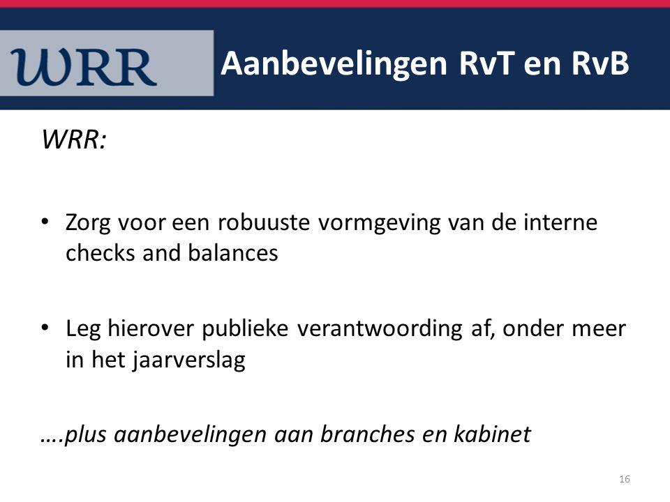 Aanbevelingen RvT en RvB