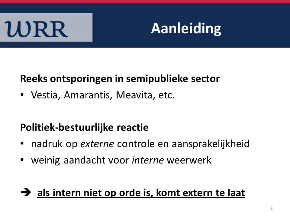 Aanleiding Reeks ontsporingen in semipublieke sector
