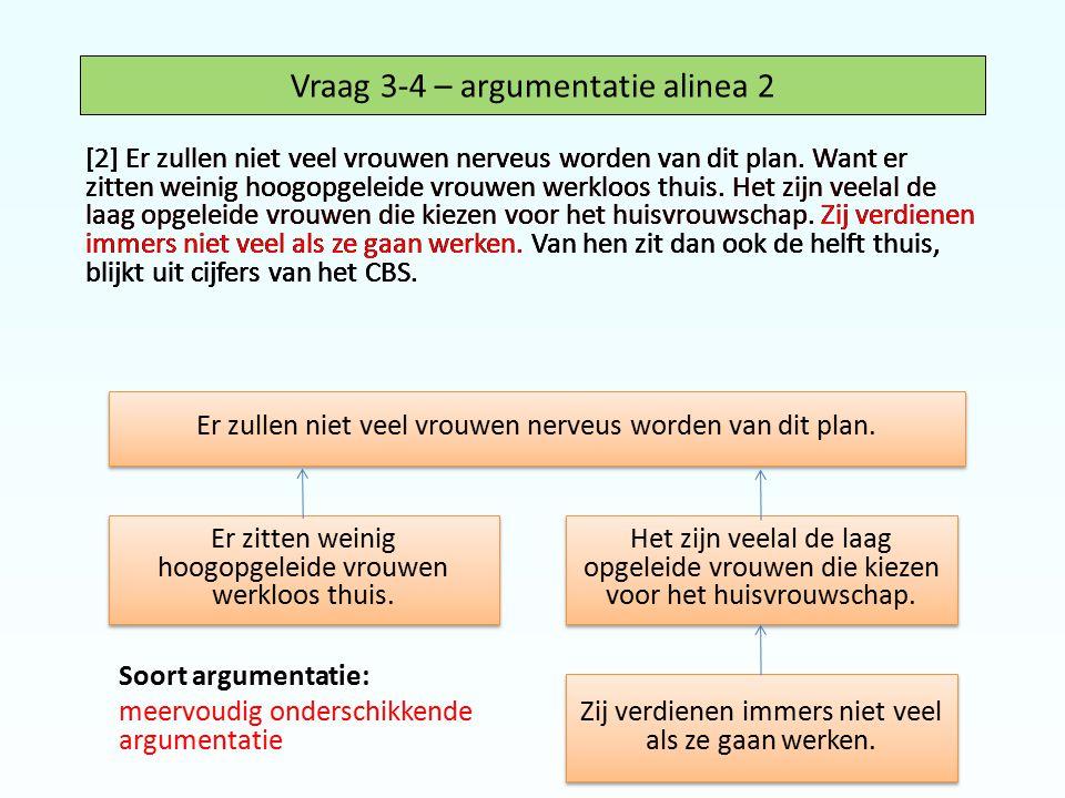 Vraag 3-4 – argumentatie alinea 2