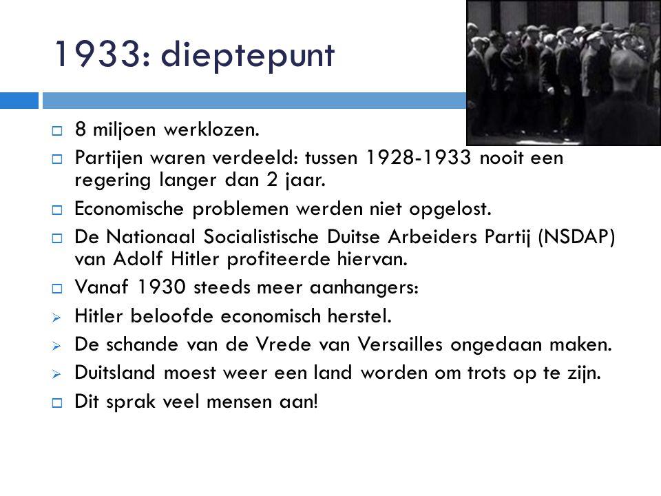 1933: dieptepunt 8 miljoen werklozen.