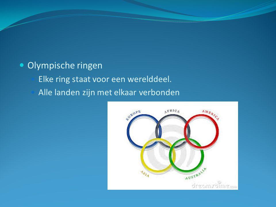 Olympische ringen Elke ring staat voor een werelddeel.