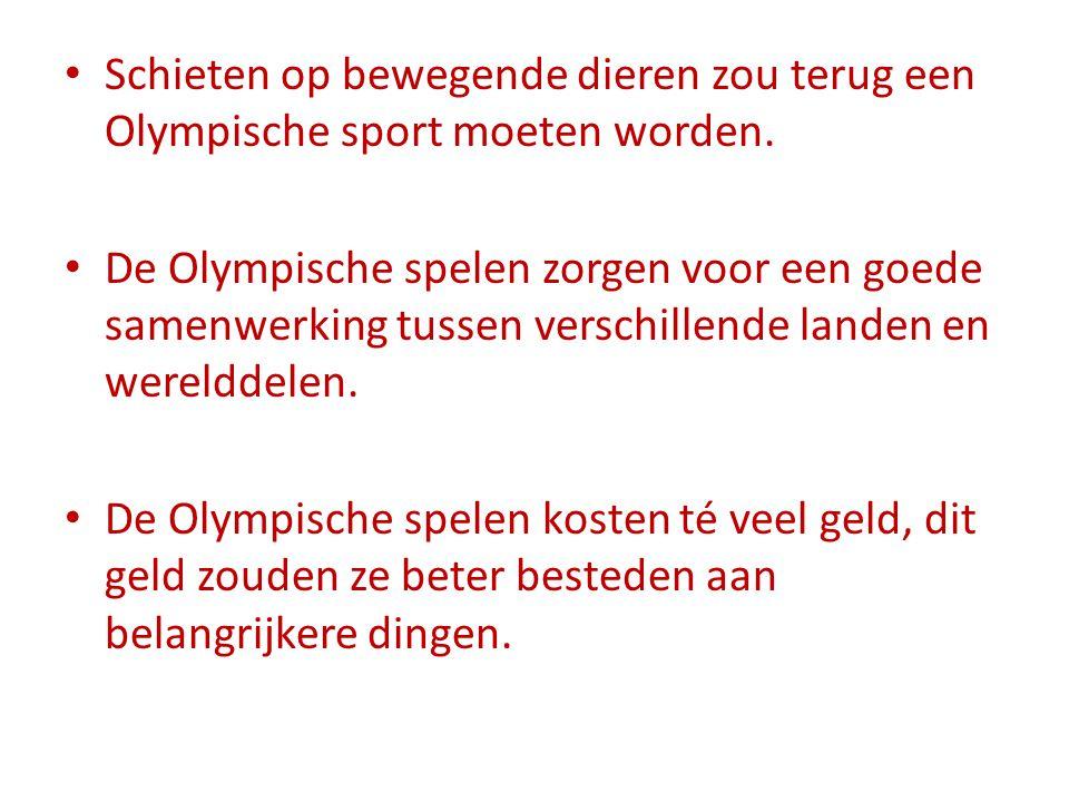 Schieten op bewegende dieren zou terug een Olympische sport moeten worden.