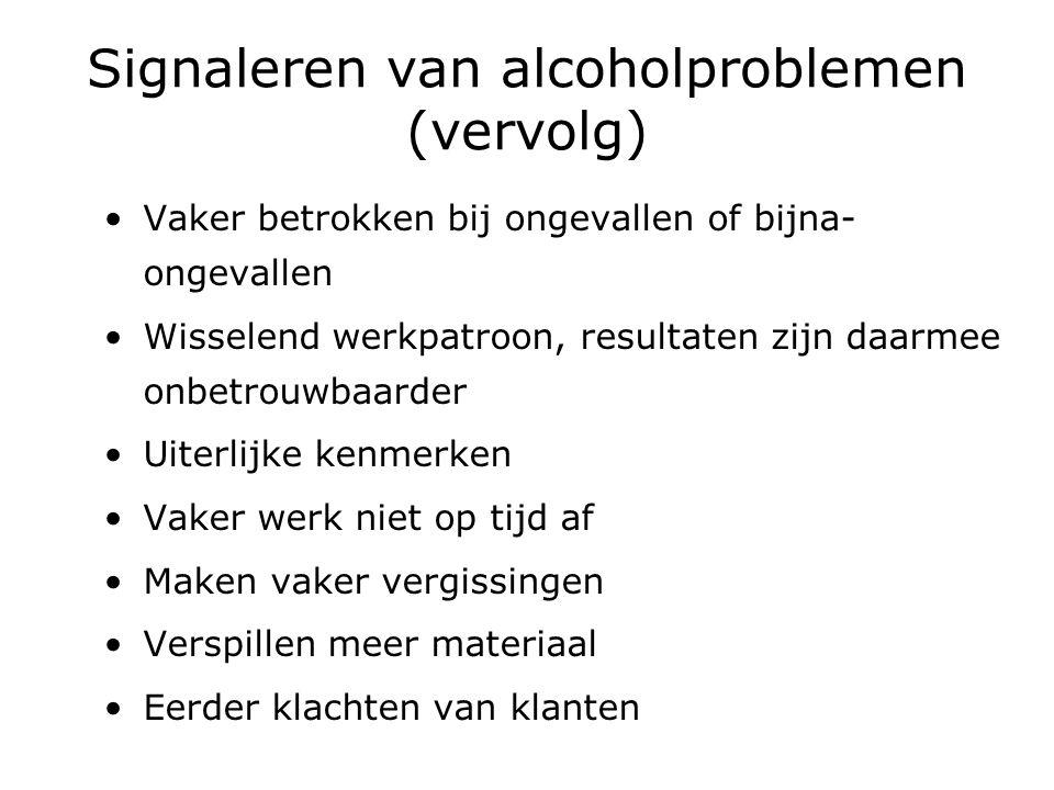 Signaleren van alcoholproblemen (vervolg)