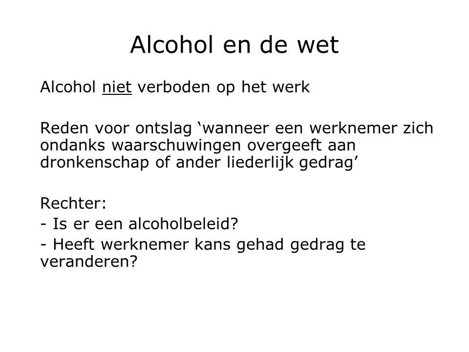 Alcohol en de wet Alcohol niet verboden op het werk