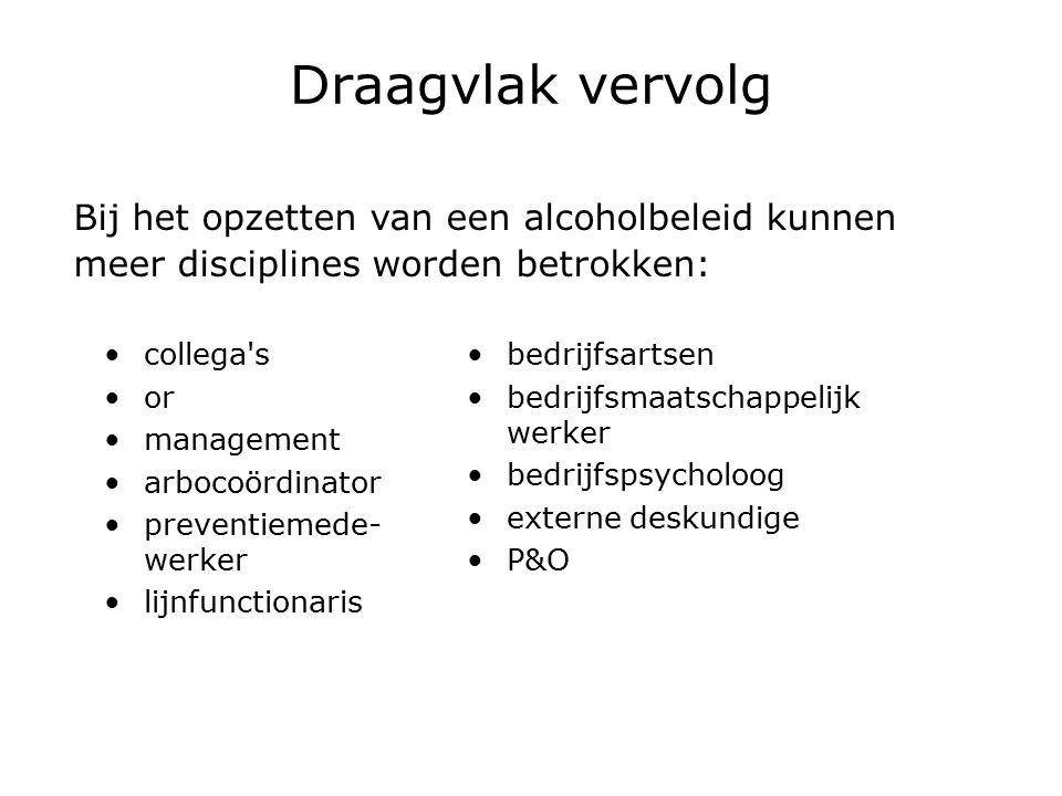 Draagvlak vervolg Bij het opzetten van een alcoholbeleid kunnen meer disciplines worden betrokken: collega s.