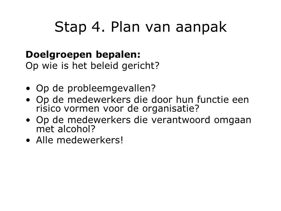 Stap 4. Plan van aanpak Doelgroepen bepalen: