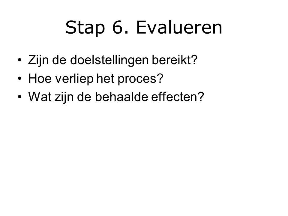 Stap 6. Evalueren Zijn de doelstellingen bereikt