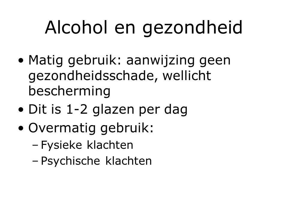 Alcohol en gezondheid Matig gebruik: aanwijzing geen gezondheidsschade, wellicht bescherming. Dit is 1-2 glazen per dag.