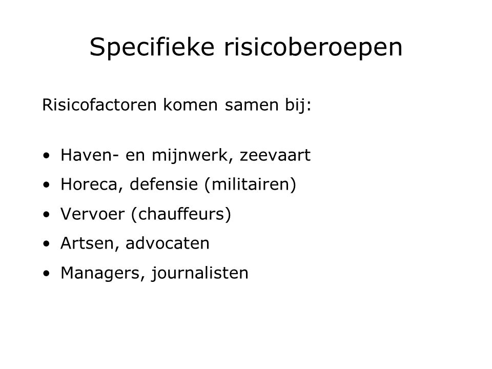 Specifieke risicoberoepen