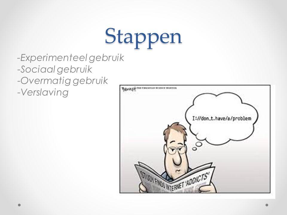 Stappen -Experimenteel gebruik -Sociaal gebruik -Overmatig gebruik -Verslaving