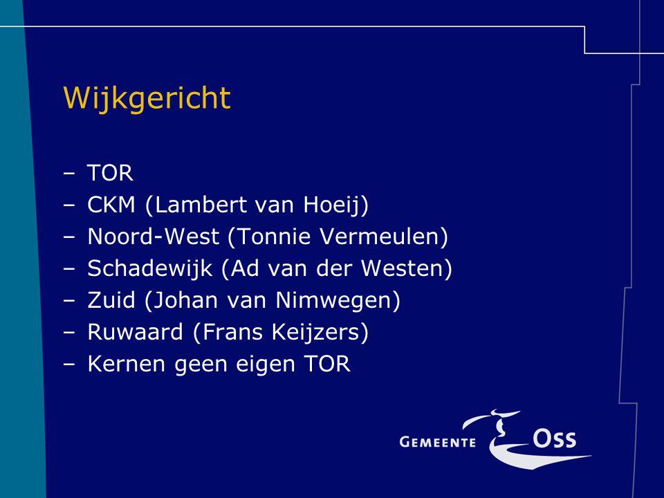Wijkgericht TOR CKM (Lambert van Hoeij) Noord-West (Tonnie Vermeulen)