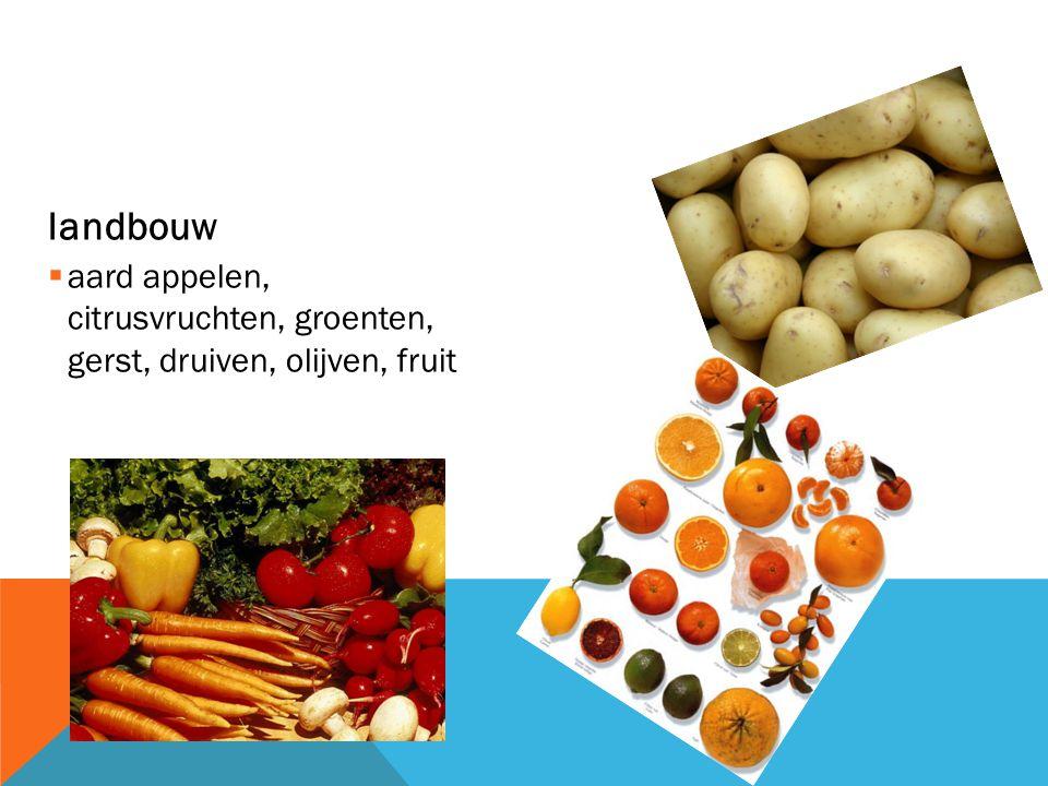 landbouw aard appelen, citrusvruchten, groenten, gerst, druiven, olijven, fruit