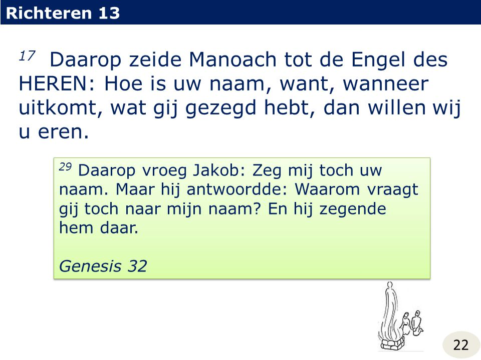 Richteren 13 17 Daarop zeide Manoach tot de Engel des HEREN: Hoe is uw naam, want, wanneer uitkomt, wat gij gezegd hebt, dan willen wij u eren.