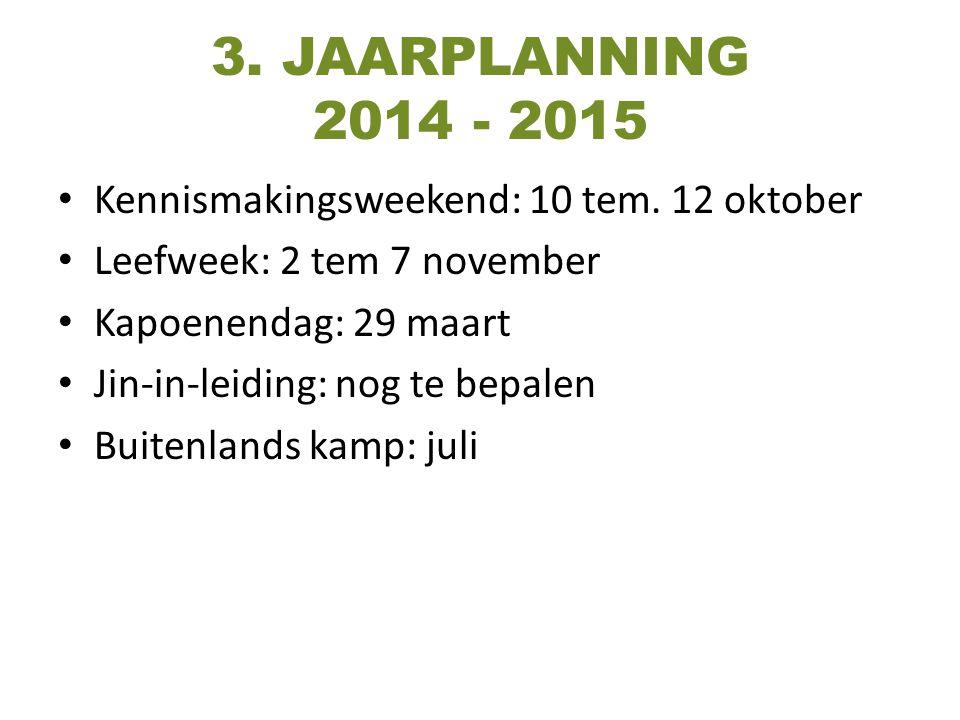 3. JAARPLANNING 2014 - 2015 Kennismakingsweekend: 10 tem. 12 oktober