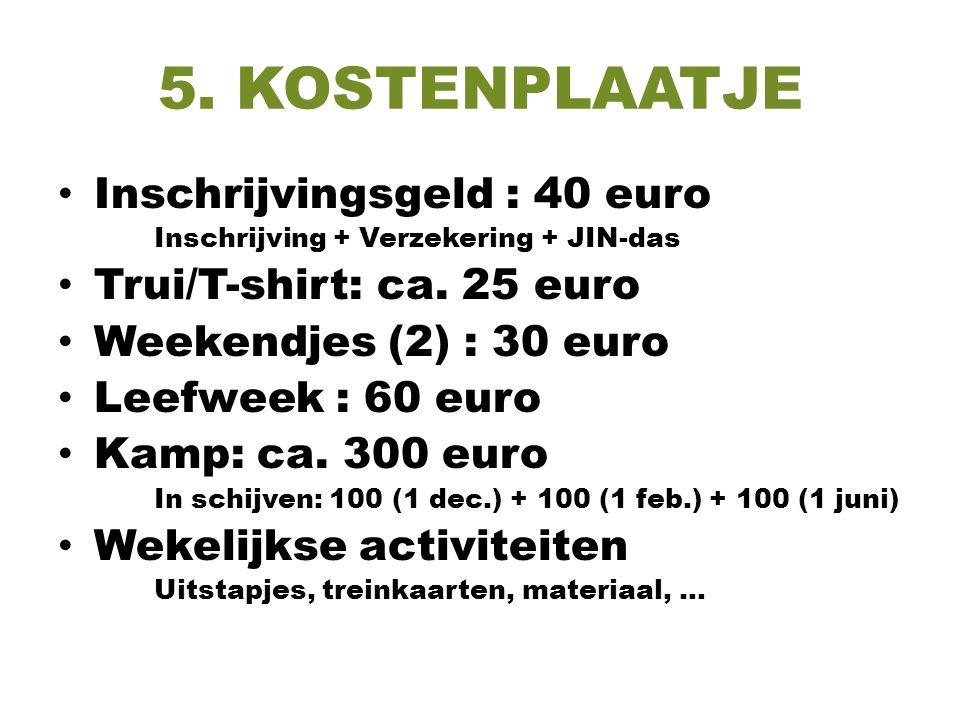 5. KOSTENPLAATJE Inschrijvingsgeld : 40 euro Trui/T-shirt: ca. 25 euro