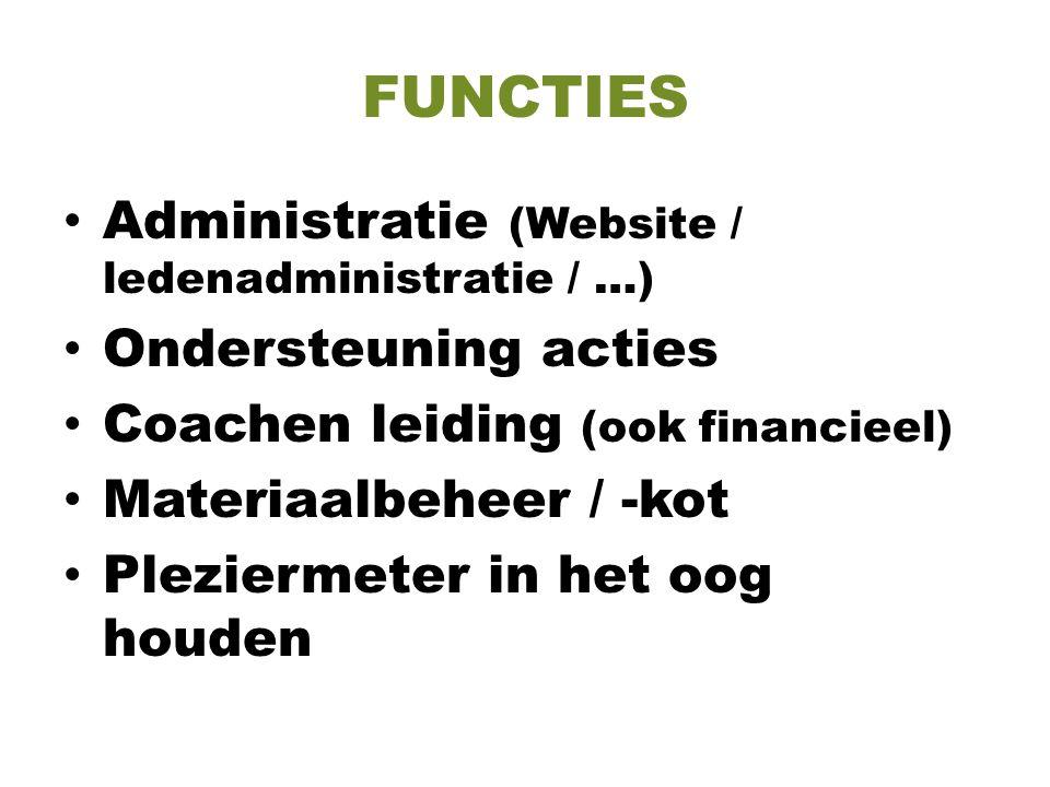 FUNCTIES Administratie (Website / ledenadministratie / …)