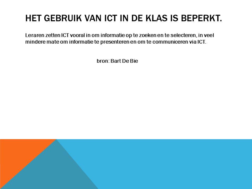 Het gebruik van ICT in de klas is beperkt.