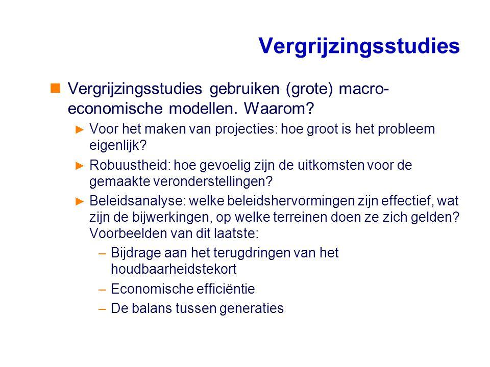 Vergrijzingsstudies Vergrijzingsstudies gebruiken (grote) macro-economische modellen. Waarom
