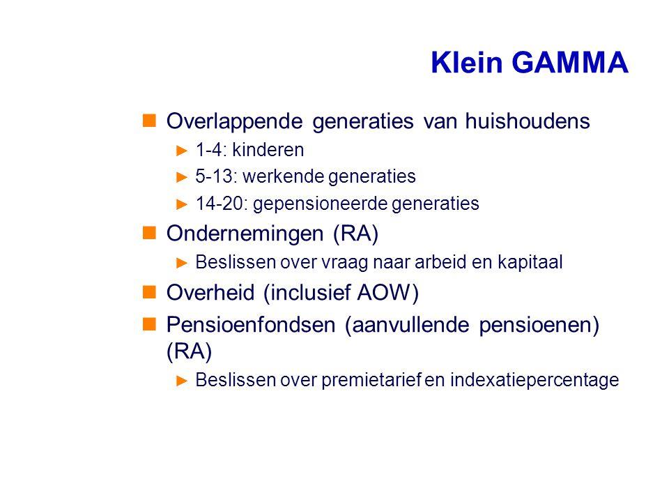 Klein GAMMA Overlappende generaties van huishoudens Ondernemingen (RA)