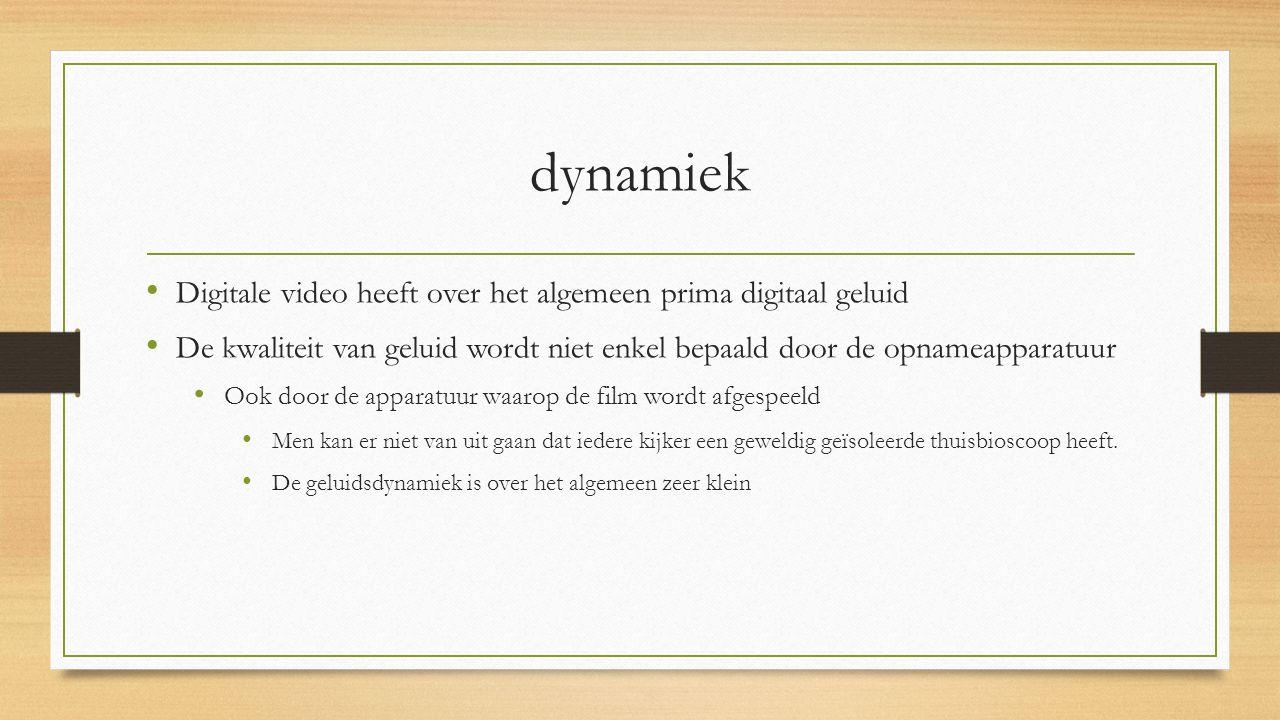 dynamiek Digitale video heeft over het algemeen prima digitaal geluid
