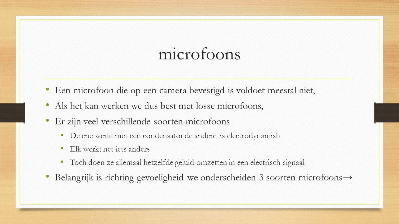 microfoons Een microfoon die op een camera bevestigd is voldoet meestal niet, Als het kan werken we dus best met losse microfoons,