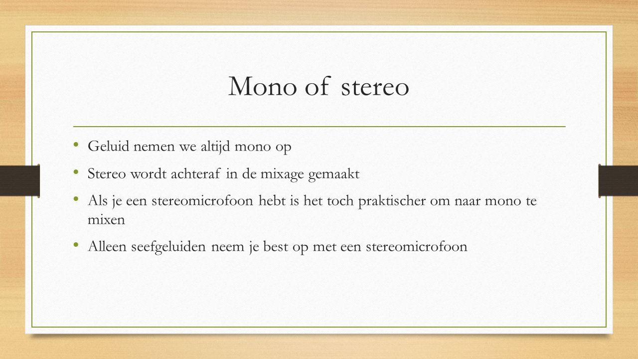 Mono of stereo Geluid nemen we altijd mono op