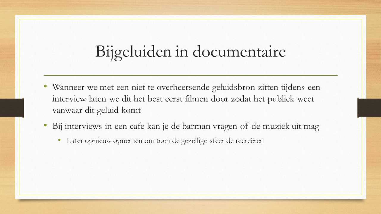 Bijgeluiden in documentaire