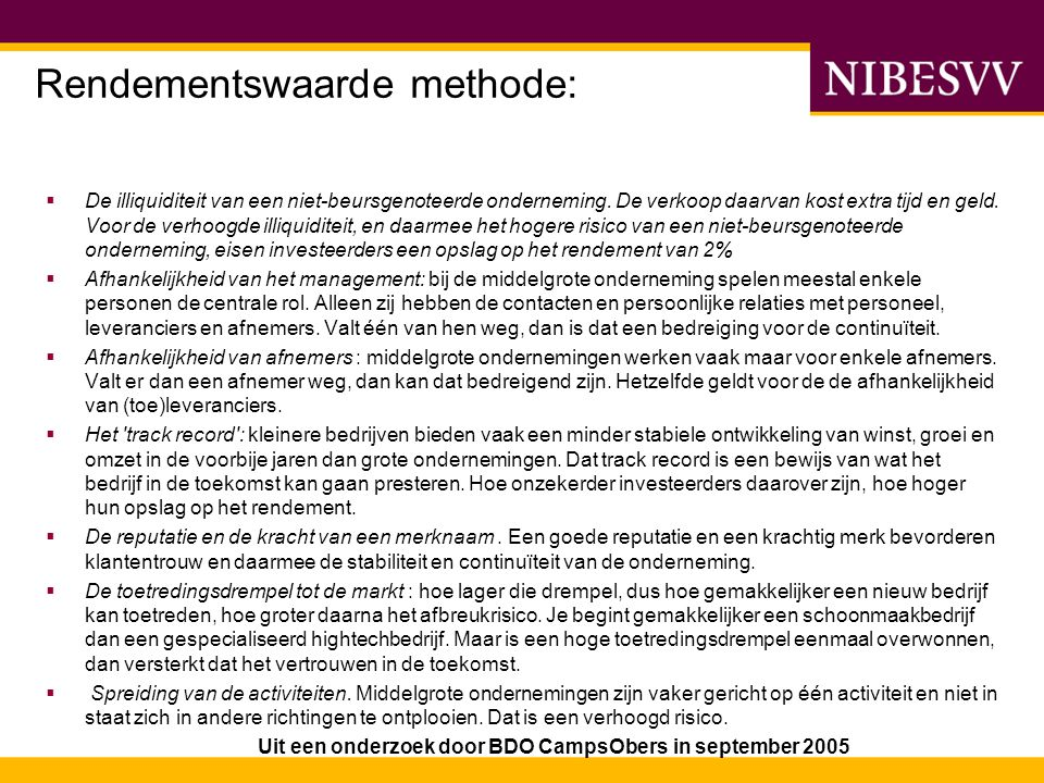 Rendementswaarde methode: