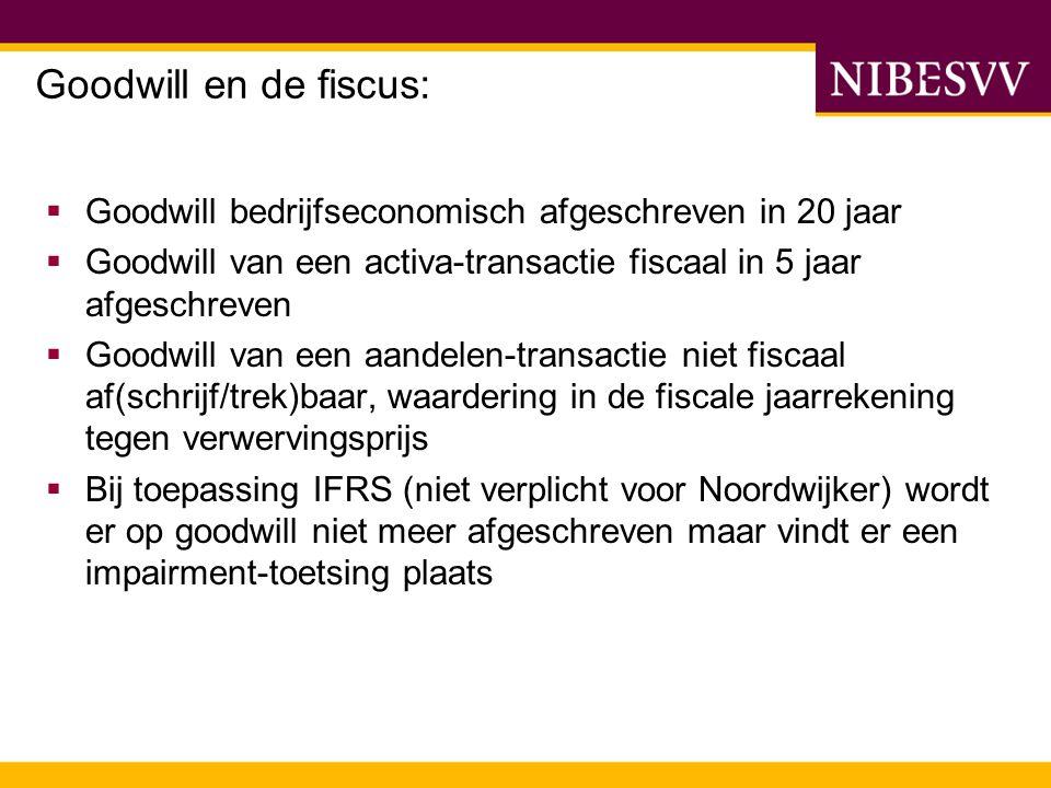Goodwill en de fiscus: Goodwill bedrijfseconomisch afgeschreven in 20 jaar. Goodwill van een activa-transactie fiscaal in 5 jaar afgeschreven.