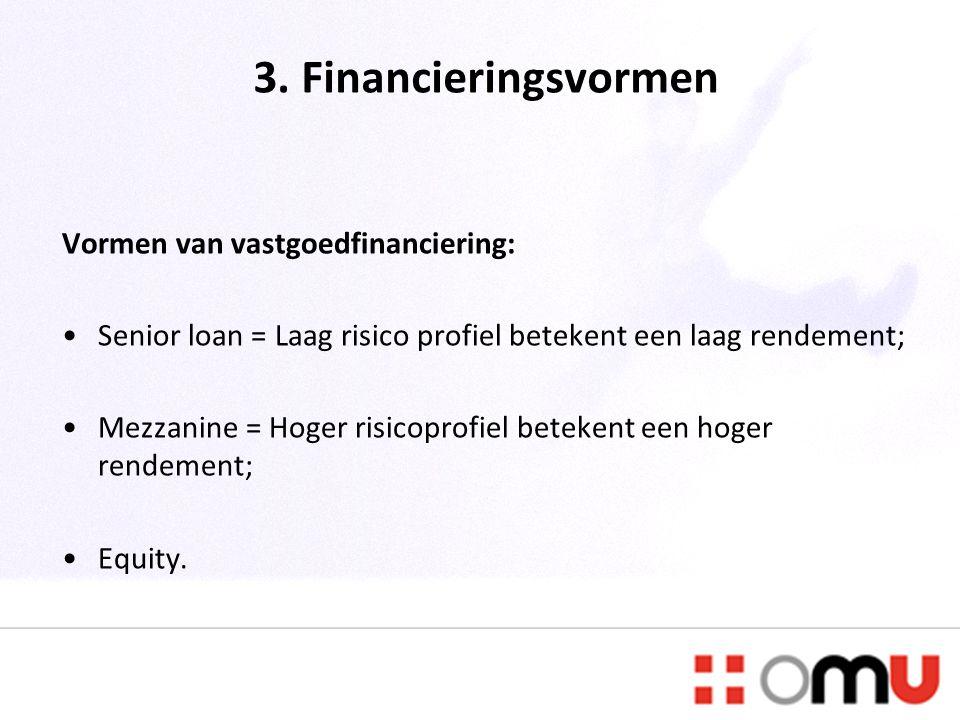 3. Financieringsvormen Vormen van vastgoedfinanciering: