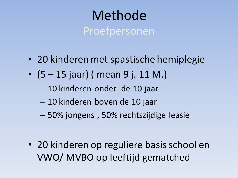 Methode Proefpersonen