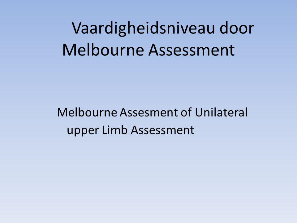 Vaardigheidsniveau door Melbourne Assessment