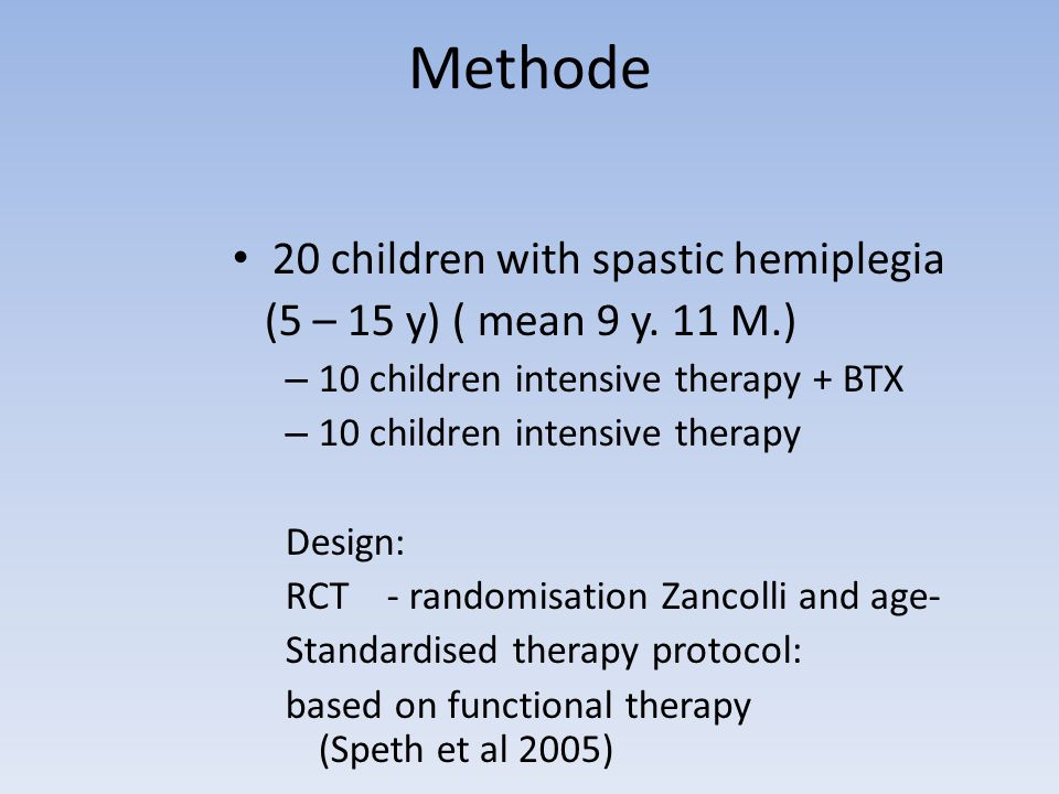Methode 20 children with spastic hemiplegia