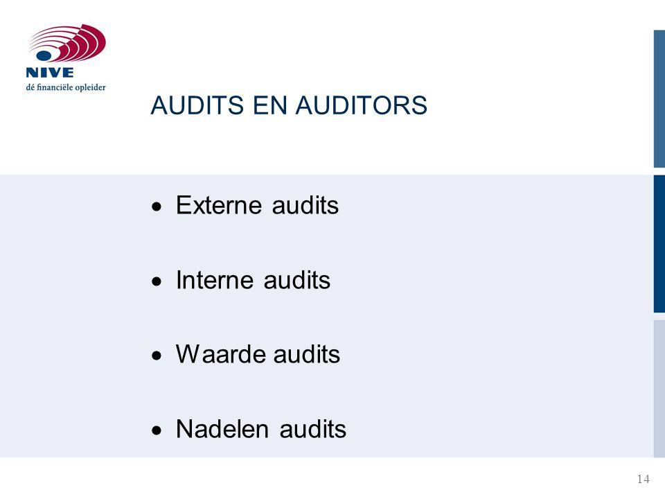 AUDITS EN AUDITORS Externe audits Interne audits Waarde audits Nadelen audits