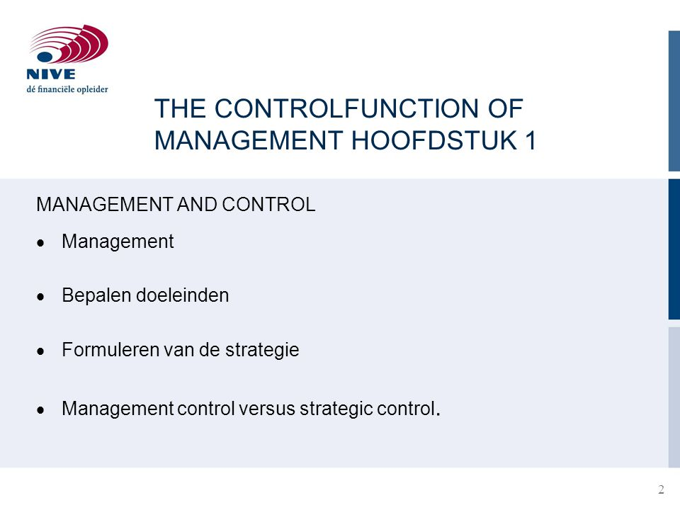 THE CONTROLFUNCTION OF MANAGEMENT HOOFDSTUK 1