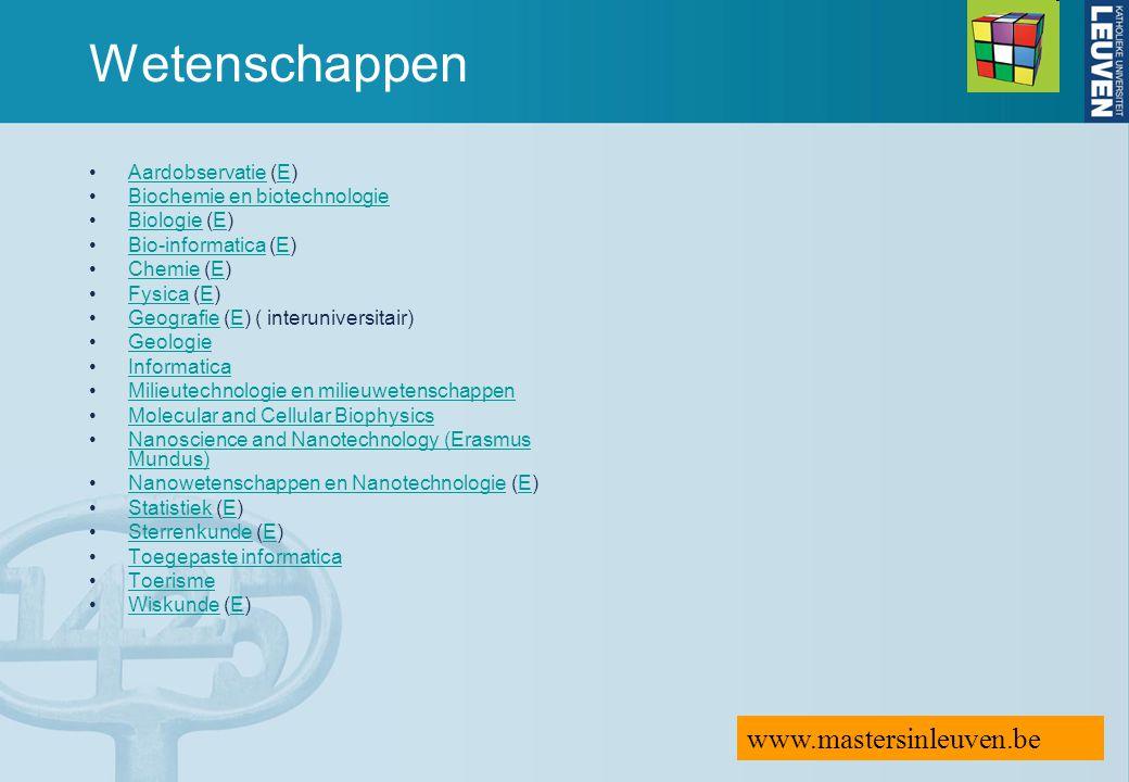Wetenschappen www.mastersinleuven.be Aardobservatie (E)