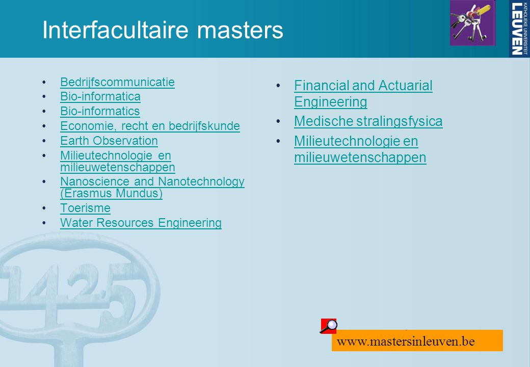 Interfacultaire masters