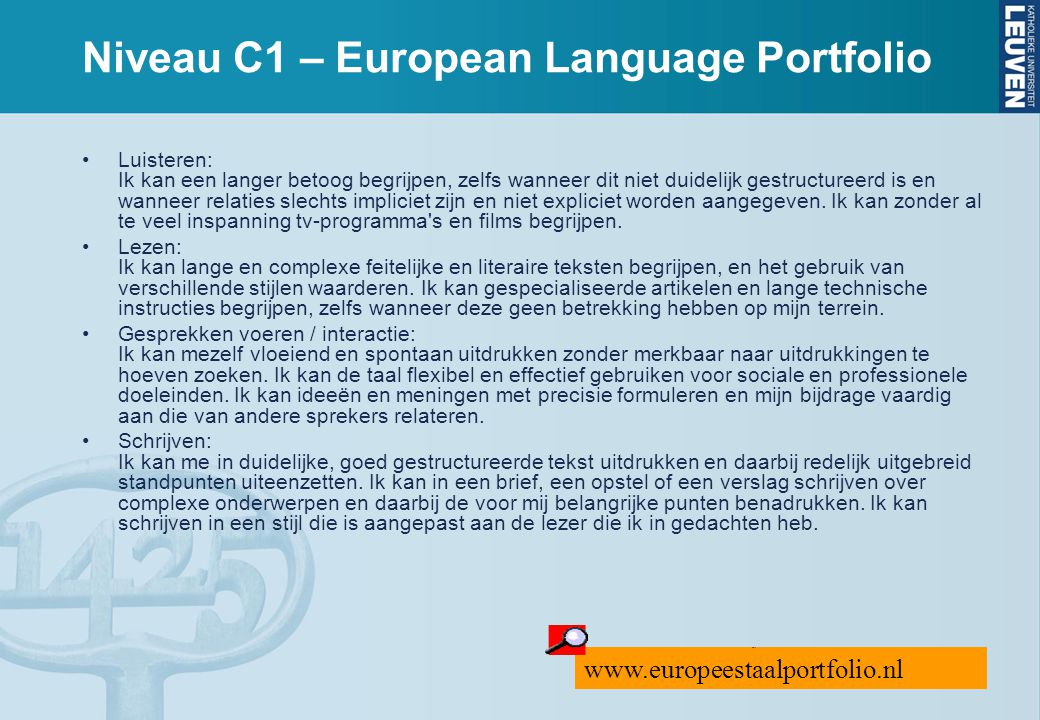 Niveau C1 – European Language Portfolio