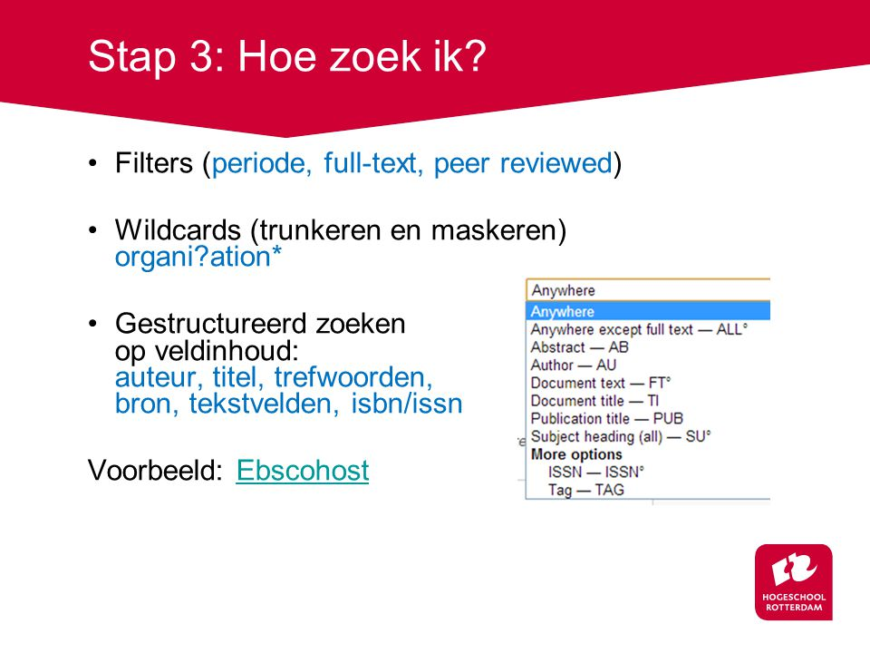 Stap 3: Hoe zoek ik Filters (periode, full-text, peer reviewed)