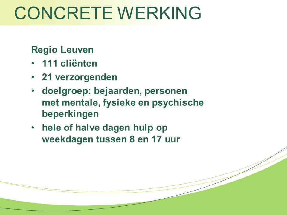 CONCRETE WERKING Regio Leuven 111 cliënten 21 verzorgenden