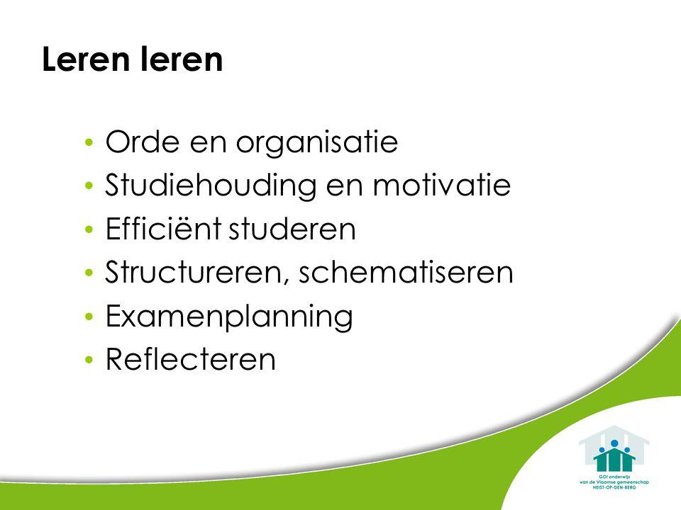 Leren leren Orde en organisatie Studiehouding en motivatie