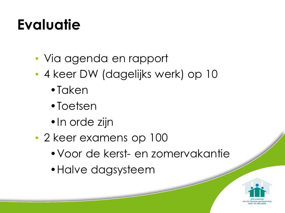 Evaluatie Via agenda en rapport 4 keer DW (dagelijks werk) op 10 Taken
