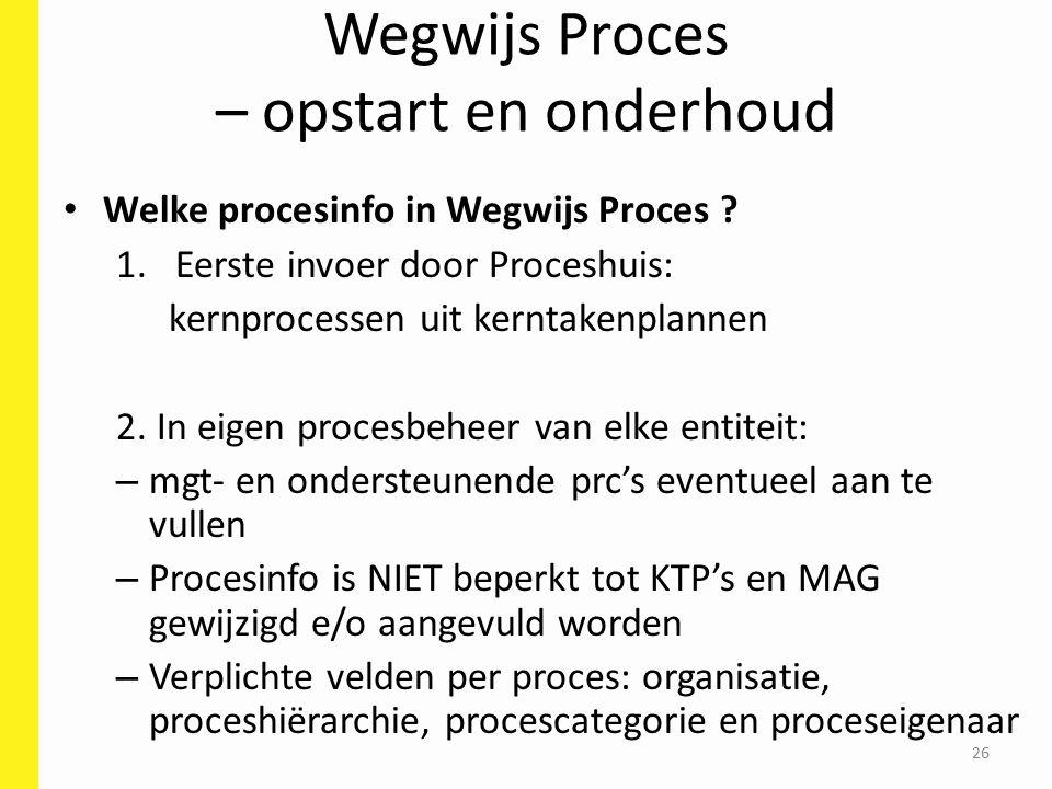 Wegwijs Proces – opstart en onderhoud