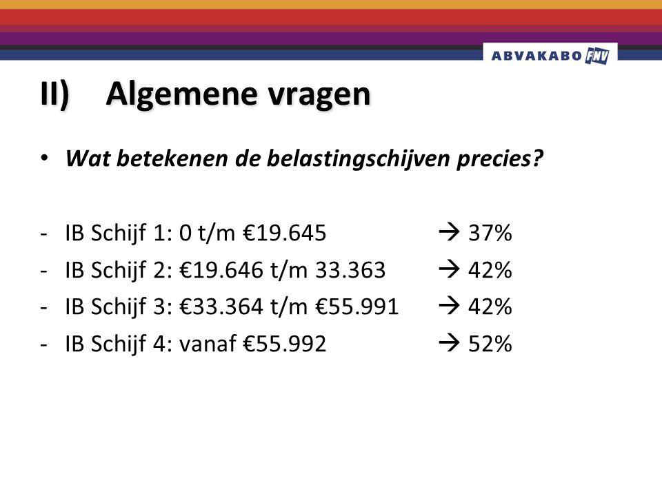 II) Algemene vragen Wat betekenen de belastingschijven precies