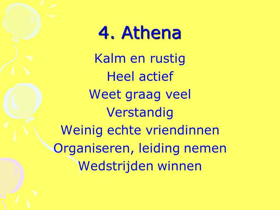4. Athena Kalm en rustig Heel actief Weet graag veel Verstandig