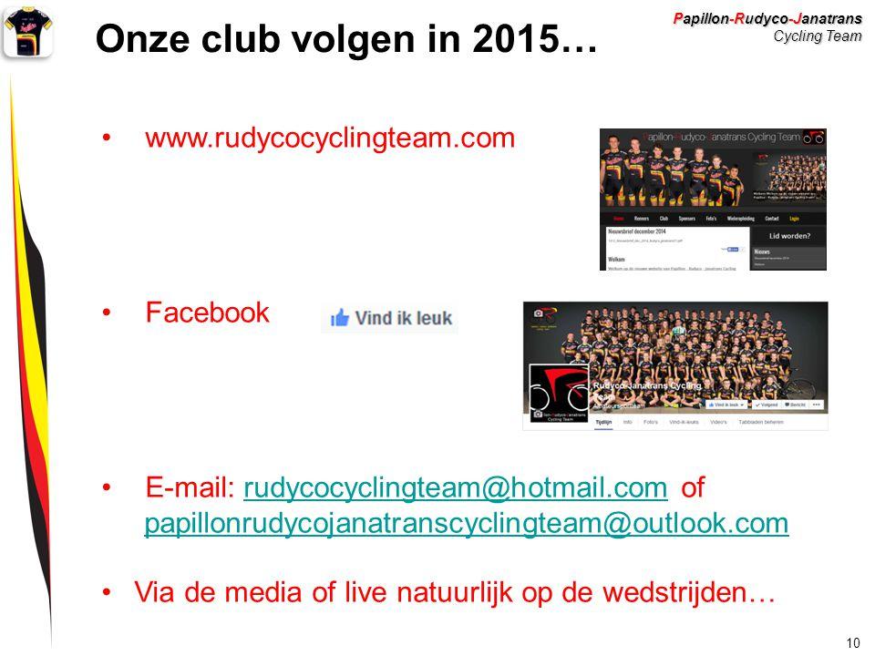 Onze club volgen in 2015… www.rudycocyclingteam.com Facebook