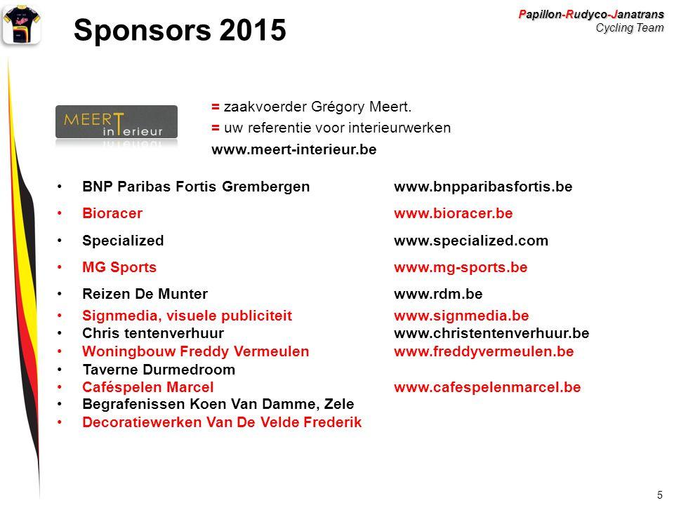 Sponsors 2015 = zaakvoerder Grégory Meert.