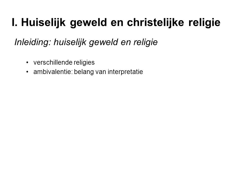 I. Huiselijk geweld en christelijke religie