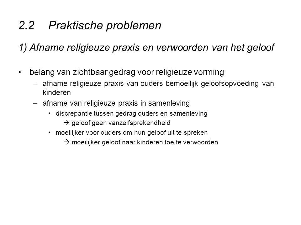 2.2 Praktische problemen 1) Afname religieuze praxis en verwoorden van het geloof. belang van zichtbaar gedrag voor religieuze vorming.