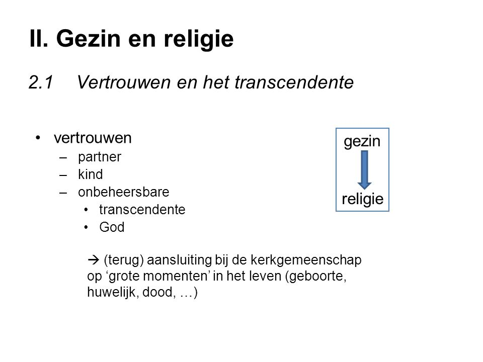II. Gezin en religie 2.1 Vertrouwen en het transcendente vertrouwen